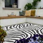 Black White Zebra Print Outdoor Rug Large Animal Print Soft Flatweave Runner Mat