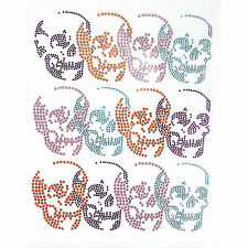 Rhinestone Iron On Transfer Hot fix Motif Fashion Design Multi-Color Skull deco