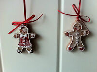 Gisela Graham Christmas Tree Decorations 2 x Mini Gingerbread Man Boy & Girls