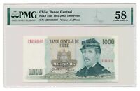 CHILE banknote 1000 Pesos 1995 PMG AU 58 Choice About Uncirculated
