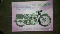 BROUGH Superior SS100 Placa metalica litografiada publicidad 41 x 30 cm. replica