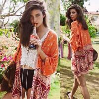 Women Ladies Boho Cardigan Hippie Kimono Shawl Coat Cover up Blouse Plus Size 0