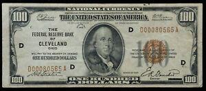 1929 $100 One Hundred Dollar Federal Reserve Cleveland Bank Note /C19