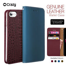 iPhone 7 8 Plus Genuine Leather Wallet Case Crazy Flip Cover for Apple