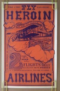 Vintage Poster Fly Heroin Airlines 1960's Headshop Drug Pin-up Psychedelic 60's