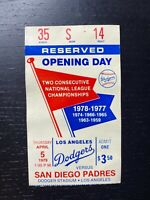 1979 Opening Day Los Angeles LA Dodgers Ticket Stub