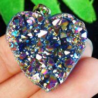 Rainbow Titanium Crystal Agate Druzy Quartz Geode Heart Pendant Bead A81196