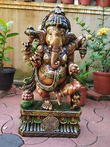 Ganesha Hand Carved Sculpture Hindu God Dancing Ganesh Statue Figurine Murti Art