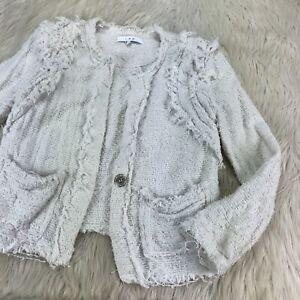 IRO Women's 36 US S White Textured Blazer Jacket Shoulder Pads Snap Front
