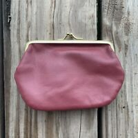 Vintage Burgundy Maroon Two Compartment Coin Purse Kiss Lock Closure