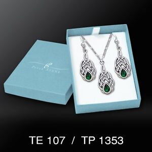 Celtic Knotwork Emerald Glass .925 Sterling Silver Boxed Set by Peter Stone
