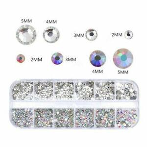 Nail Art Rhinestones Glitter Diamond Crystal Gold Mix Gem 3D Tips Box Tweezers
