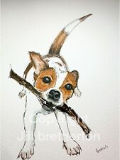 More details for a4 print of original ink & watercolour painting jack russell interior design