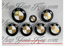 WHITE & GOLD GLOSS Badge Emblem Overlay FOR BMW HOOD TRUNK RIMS @FITS ALL BMW@