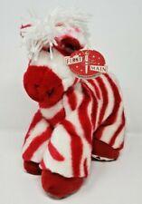 First & Main Plush Stuffed Horse Peppermint Zebra RED WHITE Stripes Heart