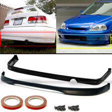 Fits 99-00 Honda Civic 2DR 4DR Polyurethane T-R Style Front & Rear Bumper Lip