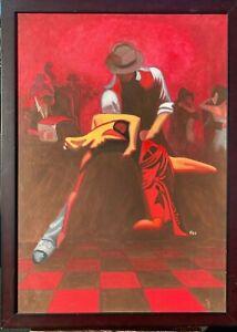 Breathtaking Argentine Tango Salon Scene Original Painting