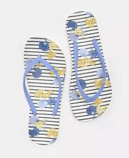 Joules Ladies Flip Flops Blue White Navy Striped Floral Summer Sandals Size UK 5