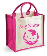 Personalised Girls HELLO KITTY Style Pink Shopping/Toy/Holiday/School Jute Bag
