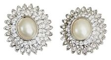Crystal and Pearl Oval Stud Earring With Silver Setting (BA893)
