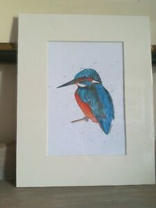 """Sue Vardy Kingfisher Watercolor and Ink  Mounted & Wrapped 14""""x11"""""""