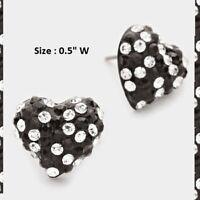 "0.5"" Small Mini Rhinestone Crystal Heart Pierced Stud Earrings Love Wedding Prom"