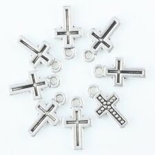 F36538*100pcs Tibetan Silver Cross Crucifix Rosary Prayer Pendant Charms Finding