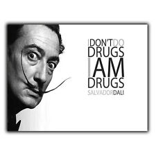 "METAL SIGN WALL PLAQUE SALVADOR DALI QUOTE ""I DON'T DO DRUGS I AM DRUGS"" poster"