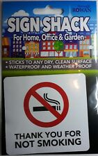 Thank You No Smoking Sticker Water Proof Weather Proof Pub Club Hotel Bar
