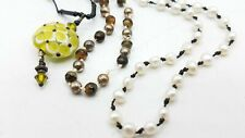 925 Silver Pearl Peridot Art Glass Knotted Thread Necklace Lot Ts450