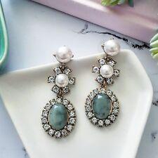 Vintage gold white crystal, pearl & jade green stone dangling flower earrings