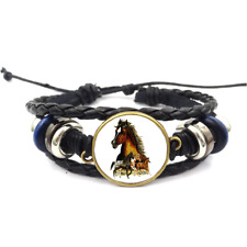 Horses Glass Cabochon Bracelet Braided Leather Strap