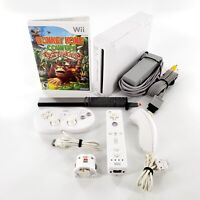 Nintendo Wii White Console Bundle w/ Donkey Kong, Controllers Tested & Works