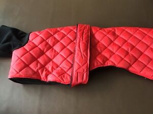 Waterproof dog coat whippet, lurched, greyhound red and black 28""