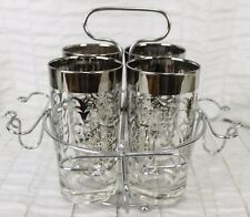 MCM Set of 4 Kimiko Hiball Glasses Silver Caddy Queens Crest Drinking Tumblers