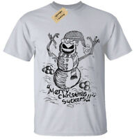 EVIL SNOWMAN Mens T-Shirt Christmas spooky skull gothic gift burton present