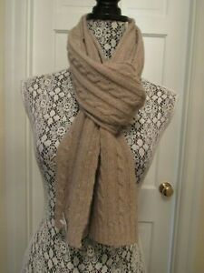 Portolano Men's Cabled Cashmere Blend Scarf – Light Brown NWT - $175