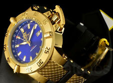Invicta 50mm Subaqua Noma III SwissMade GMT Blue Dial Gold Tone Poly Strap Watch