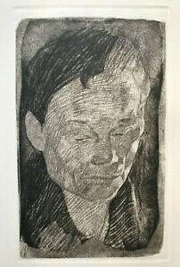 """KATHE KOLLWITZ """"Frauenkopf"""" Soft Ground Etching Aquatint (1905) A.V.D. BECKE"""