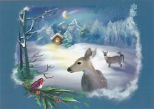 Night of Fairy tales deers snowy house Christmas bird Russian modern postcard