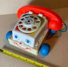 Vintage 1961 Fisher Price Wooden CHATTER PHONE ROTARY TELEPHONE Pull Toy 60s