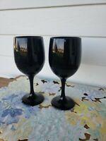 Libbey Premier Black Amethyst Teardrop Stemware Wine Glass * Set Of (2)