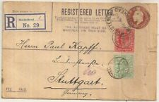 1910 Maidenhead Berkshire registered KEVII env +1d+½d stamps->Germany
