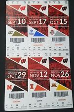 2016 Wisconsin Badgers College Football Season Ticket Stub Strip Sheet Set