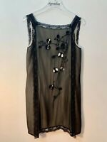 Patrizia Pepe Italian Silk Sleevless Black Embroidered Slip Dress US Size 6/8