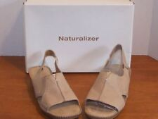 "Naturalizer Kidman Sand Dune or Earth Brown Leather Sandals 1 1/4"" Heel"