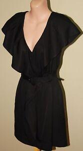 Womens Gorgeous Black Frilled Dress - SABA - Size 8