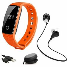 Orange Heart Rate Monitor Wristband Smart Watch Fitness Bluetooth Earphones