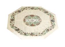 15'' Semi Precious Art Marble Top Table Pauashell Gemstone Inlay Furniture Decor