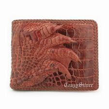 Genuine Crocodile Skin Leather Wine Red Mens Bifold Real Foot Claw Wallet WA39C